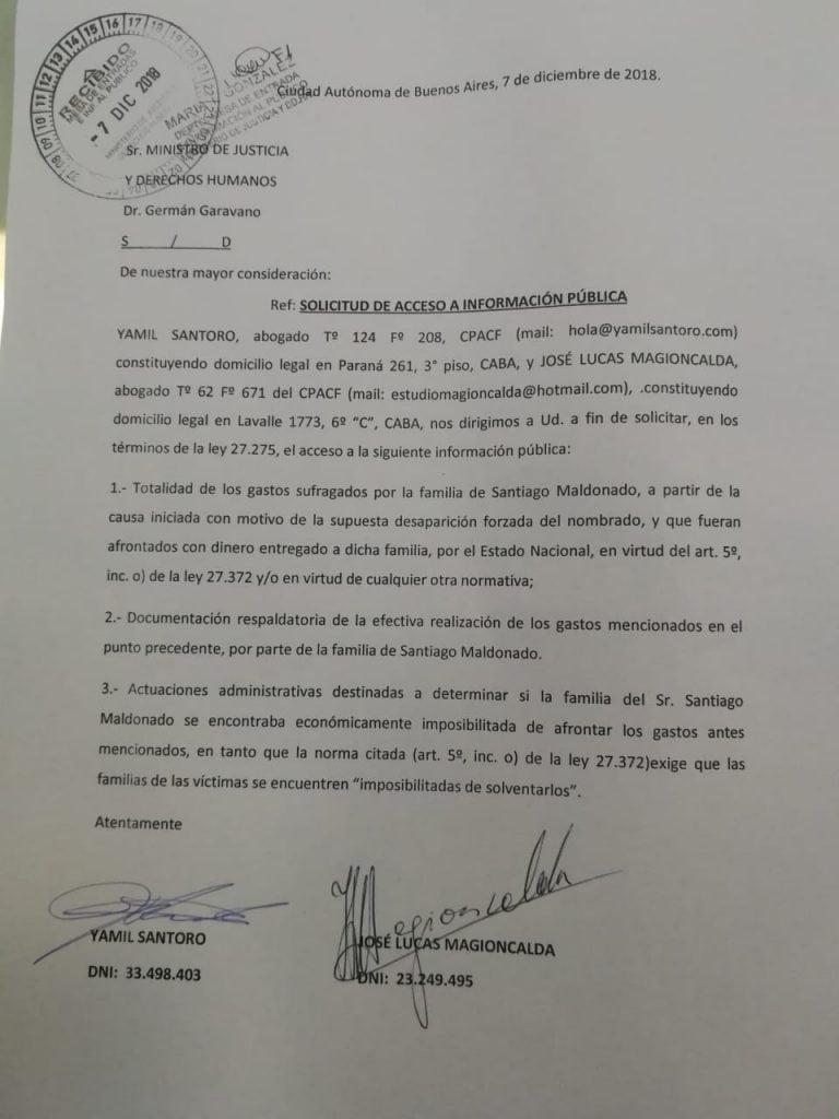 La familia de Santiago Maldonado recibió un subsidio estatal durante once meses